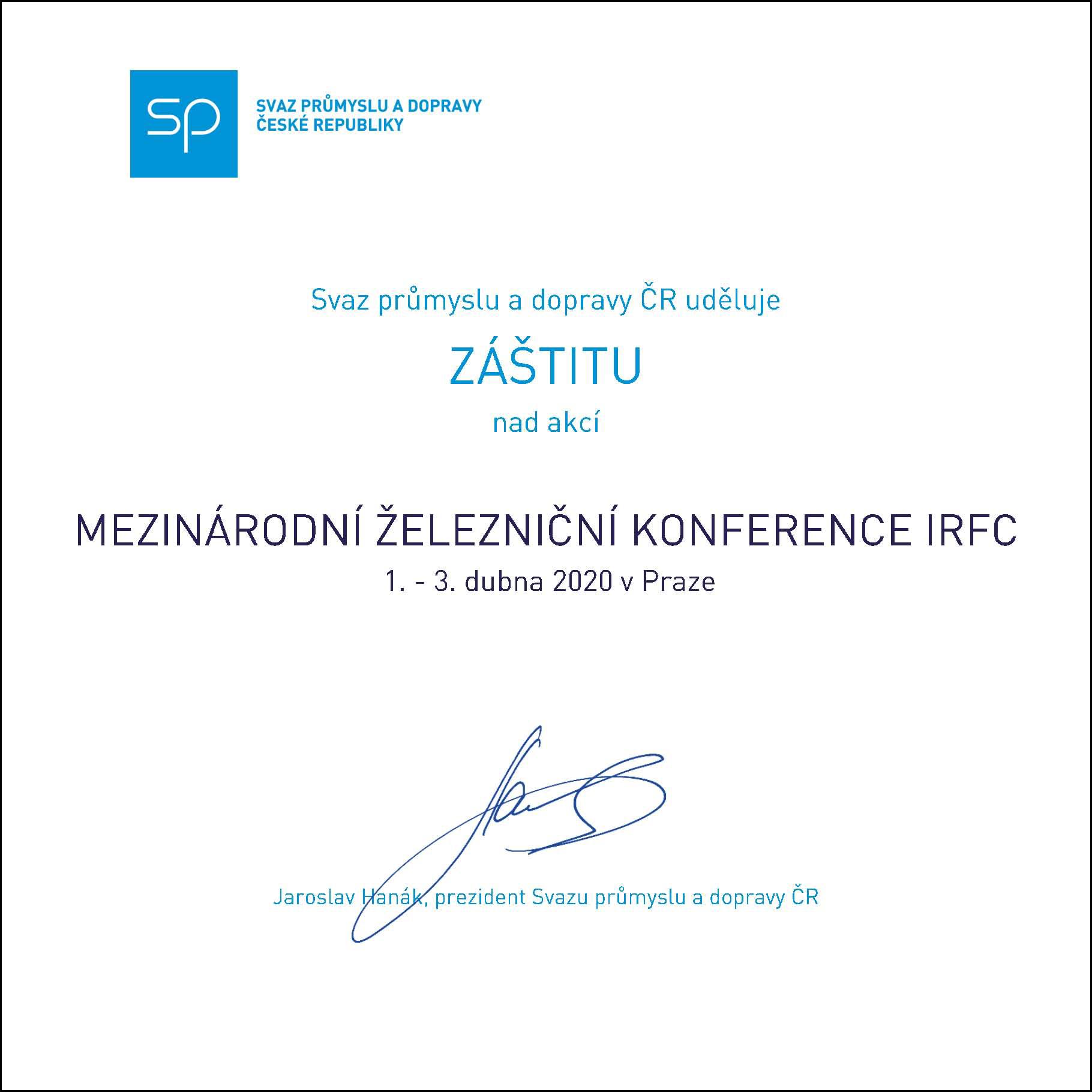 PARTNEREM konference IRFC 2020 se stal Svaz průmyslu a dopravy ČR